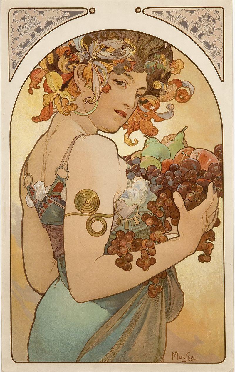 Le Fruit By Alfons Mucha 1897 Jugendstil Malerei Kunst Poster