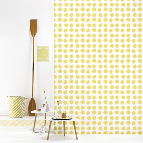 papier peint intiss motif pompon jaune fluff 4 l s. Black Bedroom Furniture Sets. Home Design Ideas