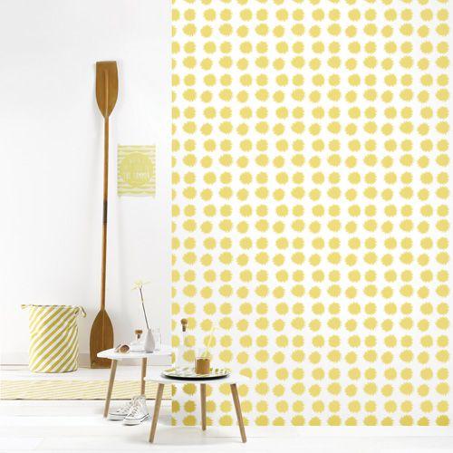 Papier peint intiss motif pompon jaune fluff 4 l s roomblush chambres b b pinterest - Papier peint intisse chambre ...