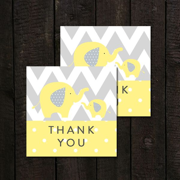 Baby Shower Thank You Tags  Yellow Gray   Elephant    Instant Download Printable