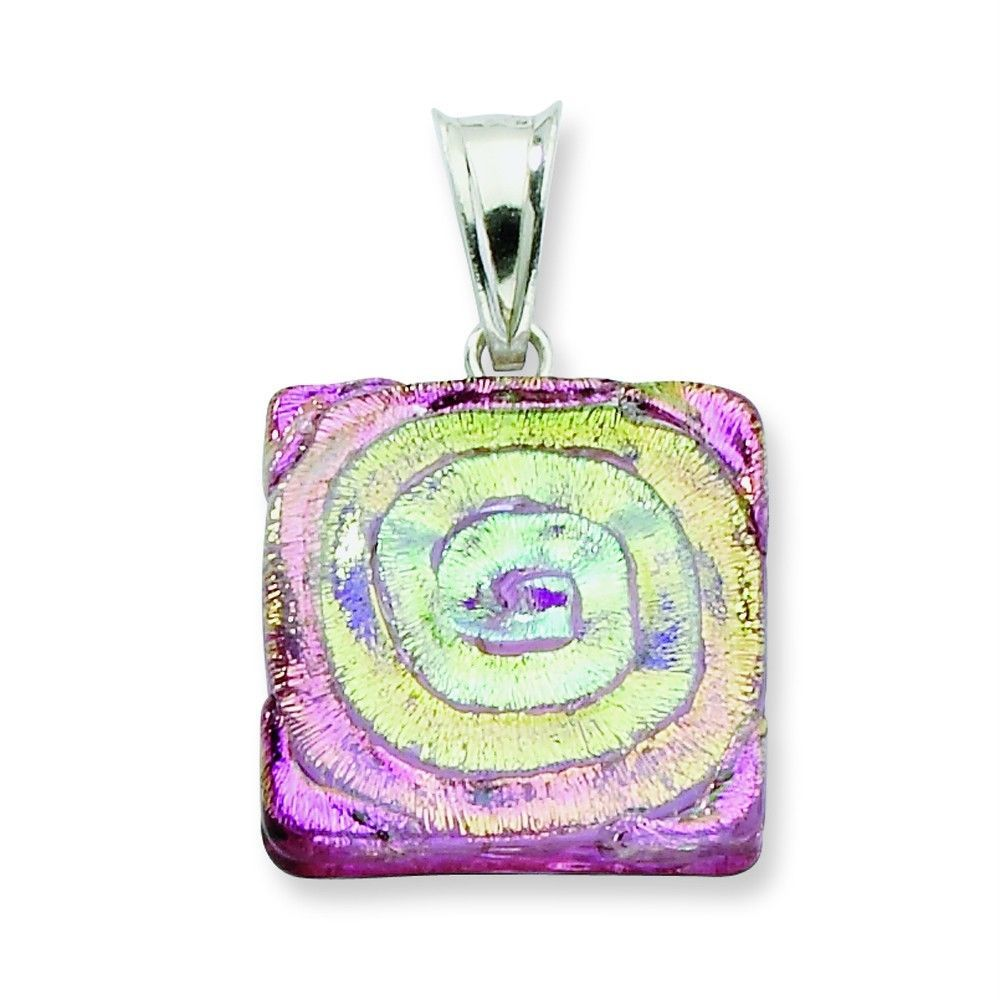 Ladies Sterling Silver .925 Handcrafted Pink Dichroic Glass Square Fancy Pendant. eBay, $19.39