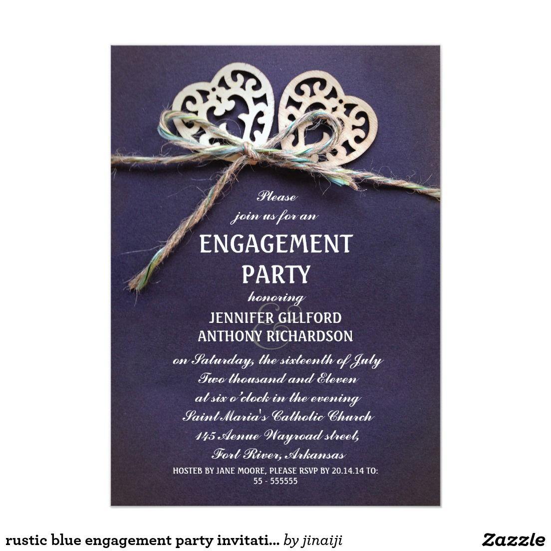 rustic blue engagement party invitation   Wedding :Engagement ...