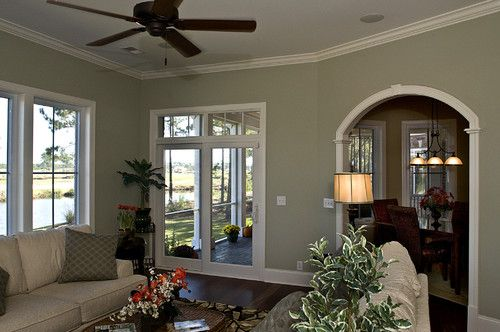 What Is The Name Of The Wall Color Houzz Living Room Color Living Room Green Family Dining Rooms