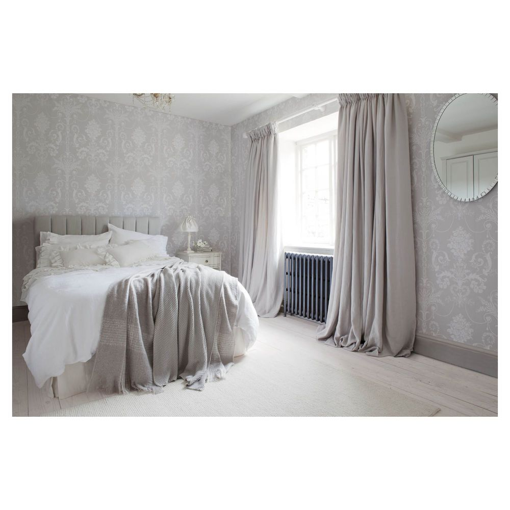 Laura ashley wallpaper josette white dove grey 10m for for Grey wallpaper bedroom