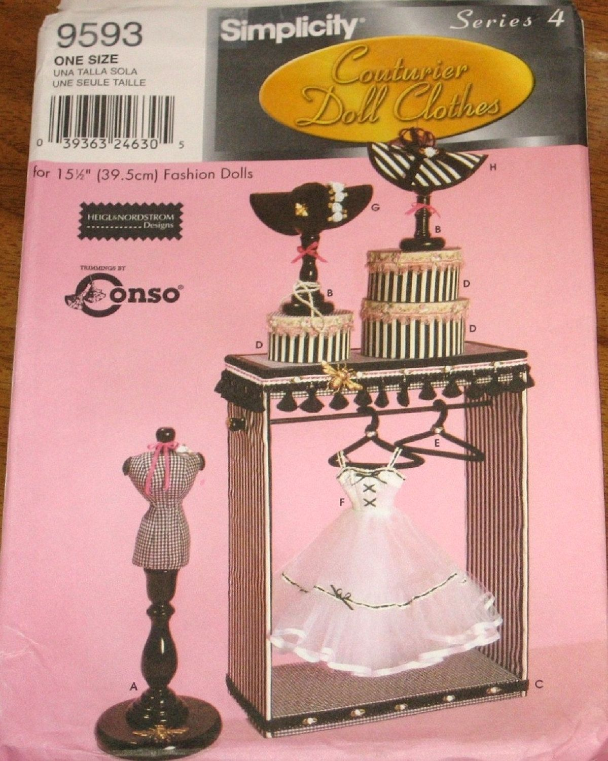 Simplicity 9593 Doll Accessories Mannequin Hat Stand Box Display Closet  Hanger Slip Couturier Craft Sewing Pattern Uncut Factory Folds By  RosesPatternsEtc ...