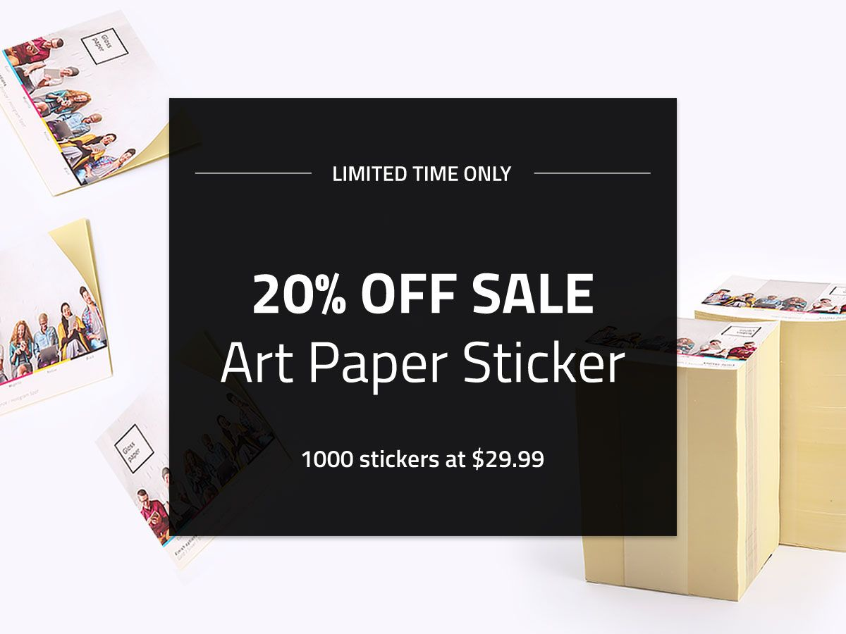 Save 20 off on your purchase of art paper stickers art paper stickers printing labels branding design custom matte uncoated glossy newyork