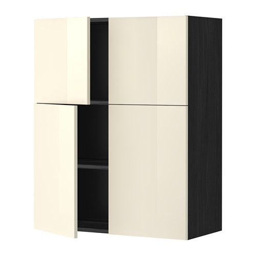 Ikea Yellow Kitchen Cabinets: METOD Wall Cabinet With Shelves/4 Doors, Black, Ringhult Yellow-white Wood Effect Black Ringhult