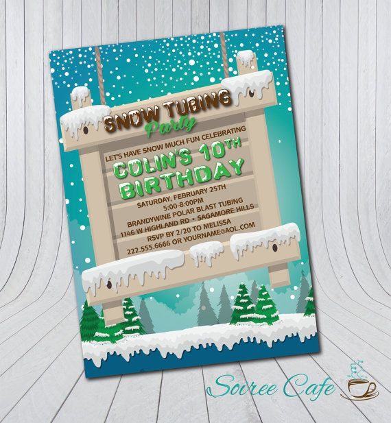 Snow Tubing Birthday Invitation Tubing Party Birthday Digital