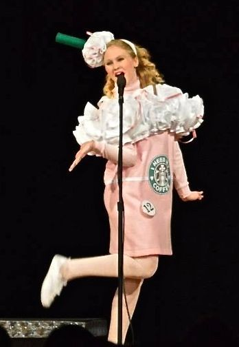 Strawberry Frappuccino Costume Dress worn in the Dogwood Trail Court Pageant 2014 by www.BlissyCouture.com