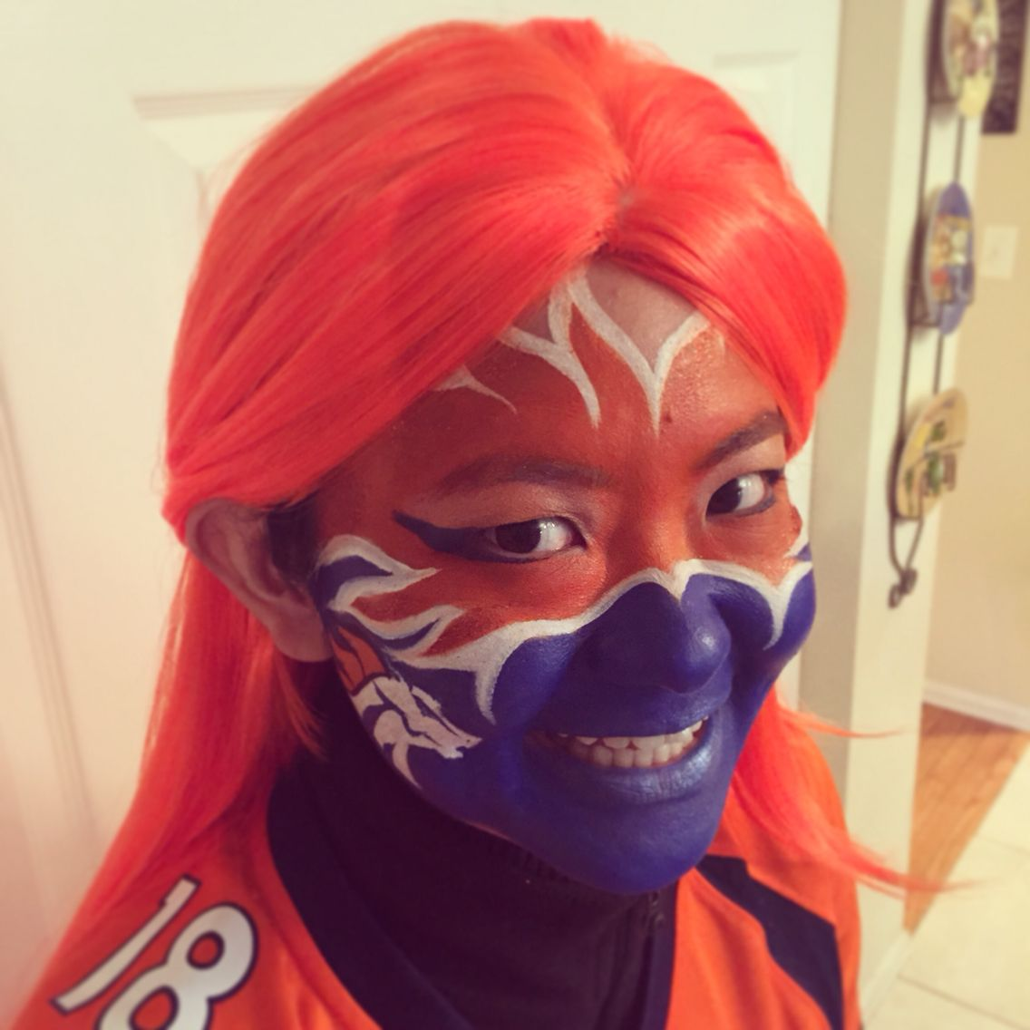 Denver broncos face painting for game day facepaint