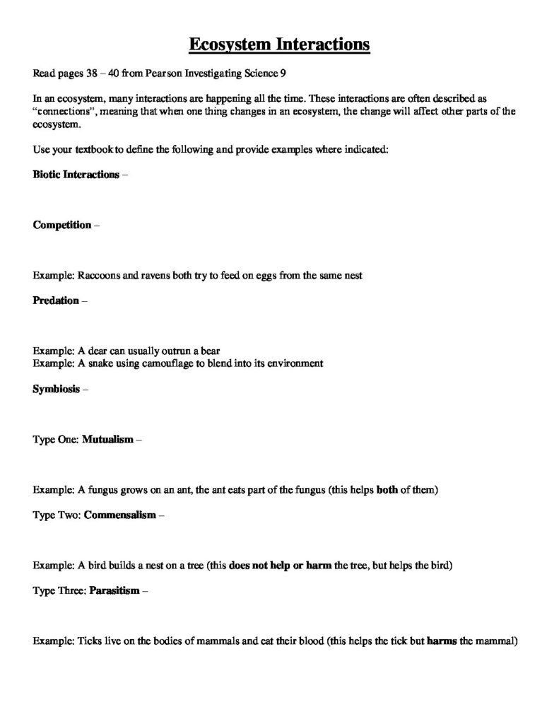 Ecosystem Interactions and Population Characteristics - Worksheet ...