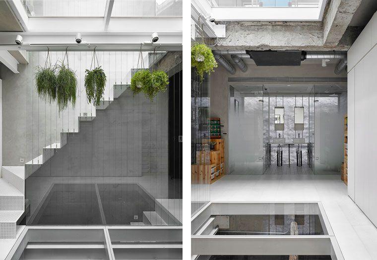 挑高天井與自然植栽 台北42 坪水泥粉光三層樓透天長型屋 With Images