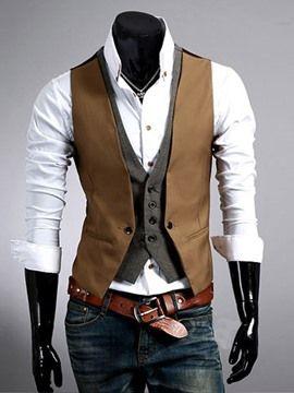 df7bfd1514 Ericdress Patchwork kétrétegú férfi mellény | Men's fashion ...