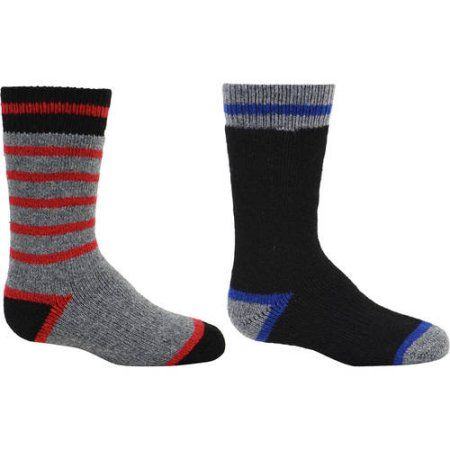 Kodiak Boys Thermal Wool Crew Socks 2-Pack, Size: 3-9, Red