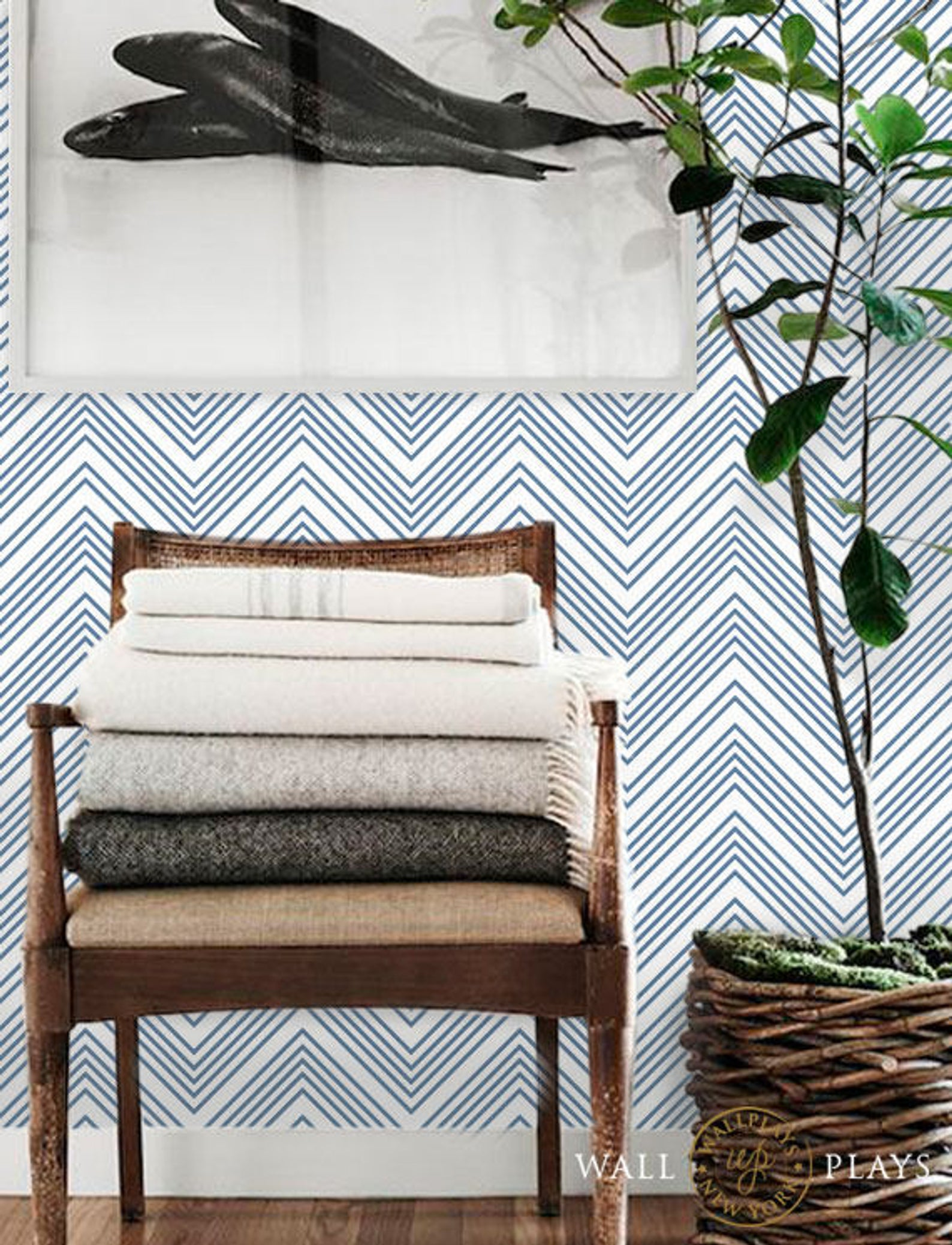 Chevron Thin Lines Pattern Blue Removable Wallpaper Peel