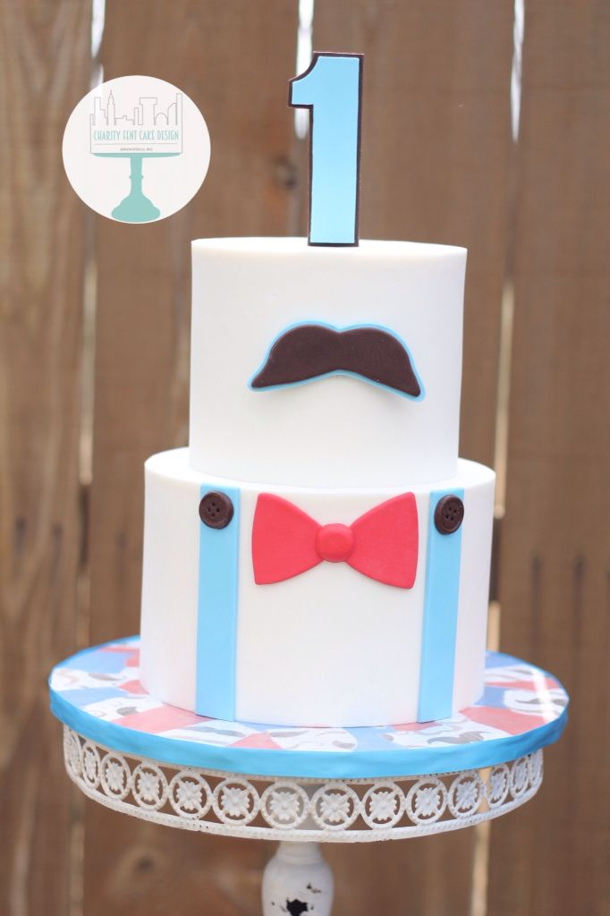 Bow tie and mustache themed birthday cake Little man fondant