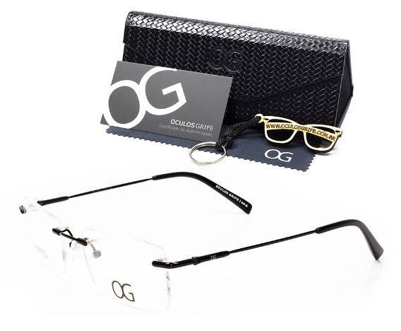 Armacao Oculos Grife Og 60 B P Grau Titanium Flexivel Oculos