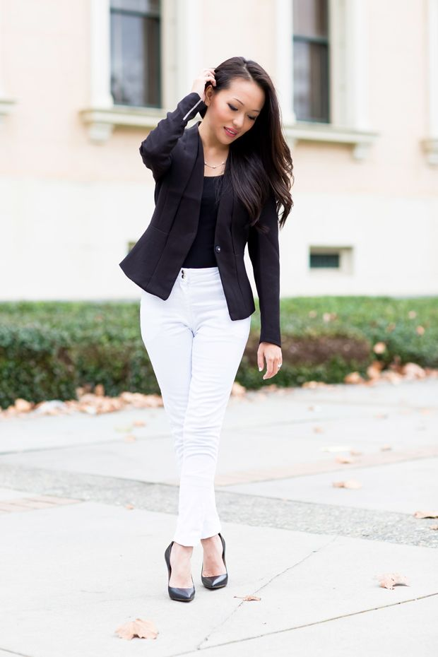 Three ways to wear white pants! Office style outfit featuring ...