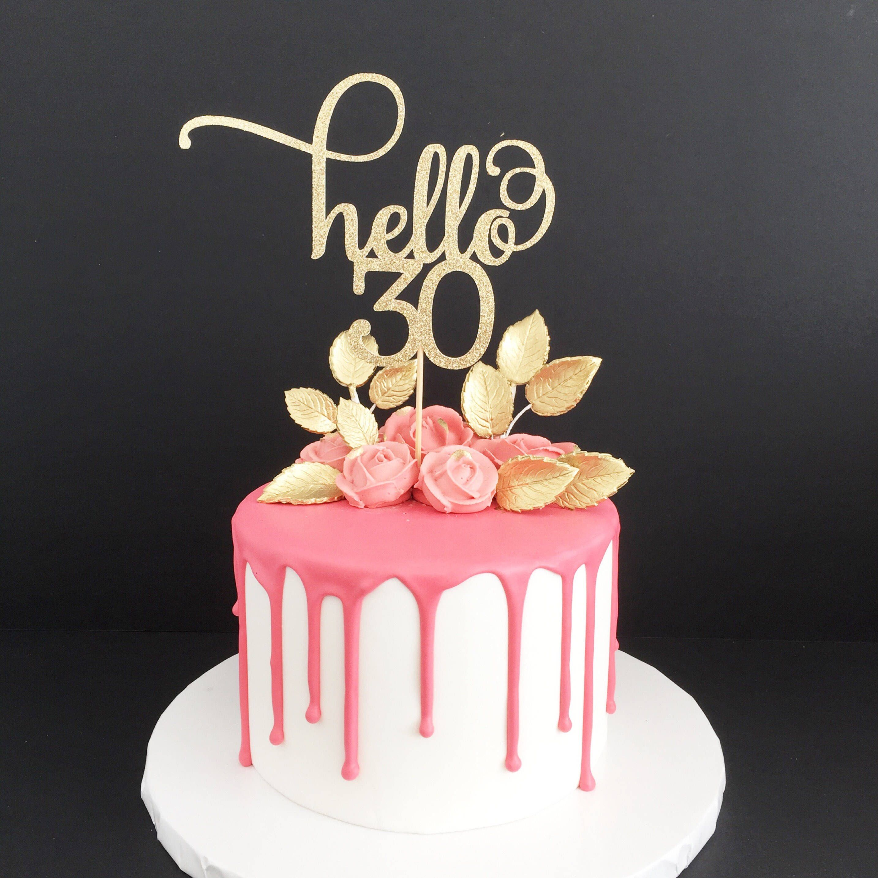 Wondrous Hello 30 Glitter Cake Topper Any Age Cake Topper 30Th Birthday Funny Birthday Cards Online Inifodamsfinfo