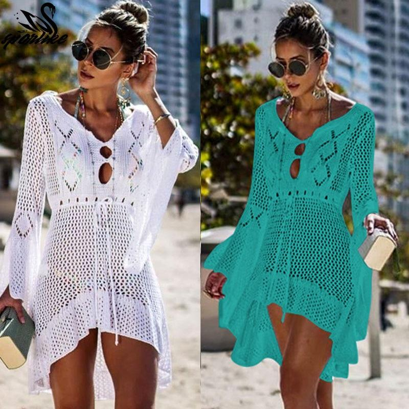 8a774f2ce8 2019 Crochet White Knitted Beach Cover up dress Tunic Long Pareos ...