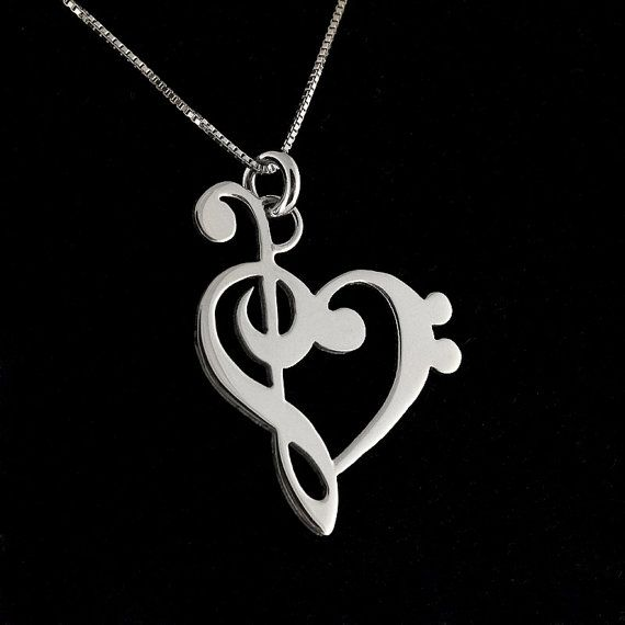 G clef bass clef heart Necklace BRIGHT SATIN FINISH silver music note Treble clef Pendant charm necklace music note necklace Hear Clef