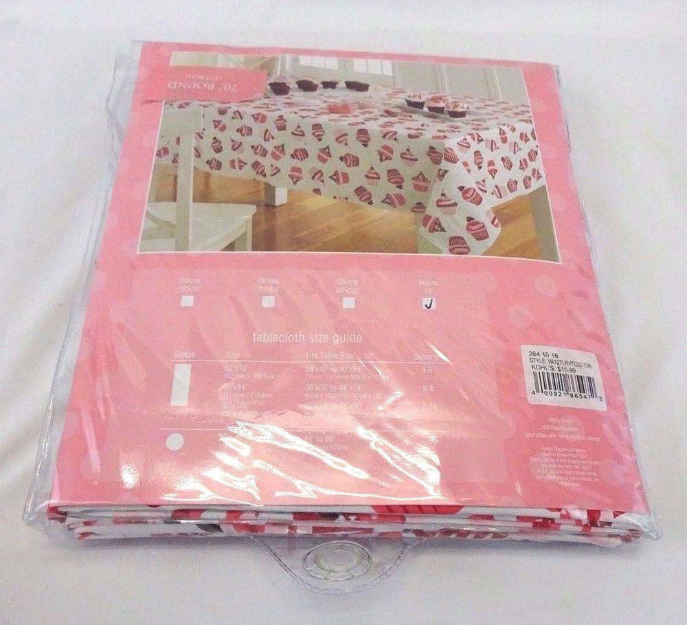 Round Vinyl Tablecloth Cupcakes Valentineu0027s Day 70u201d Kohlu0027s New #Kohls