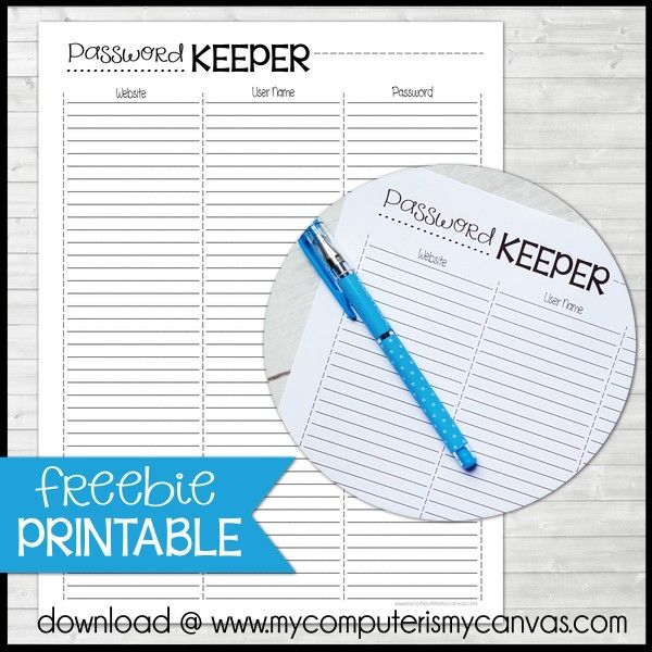 FREE PRINTABLE Password Keeper for your planner ...