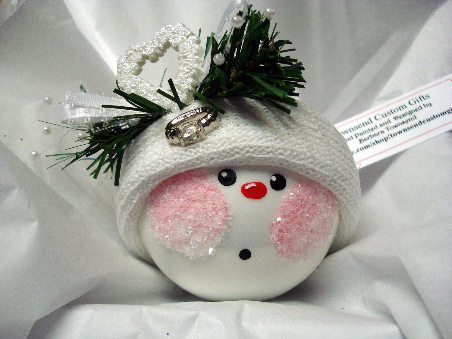 Engagement snowman ornament christmas tree bulb snowball face themed