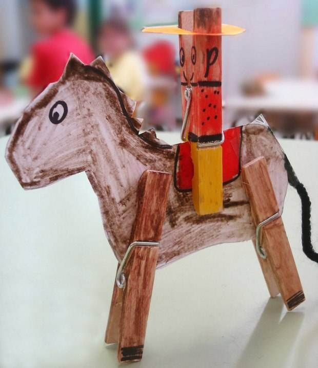 Superb Horse Craft Ideas For Kids Part - 4: Diy Homemade Clothespin Crafts Diy Cowboy Kids Ideas With Horse