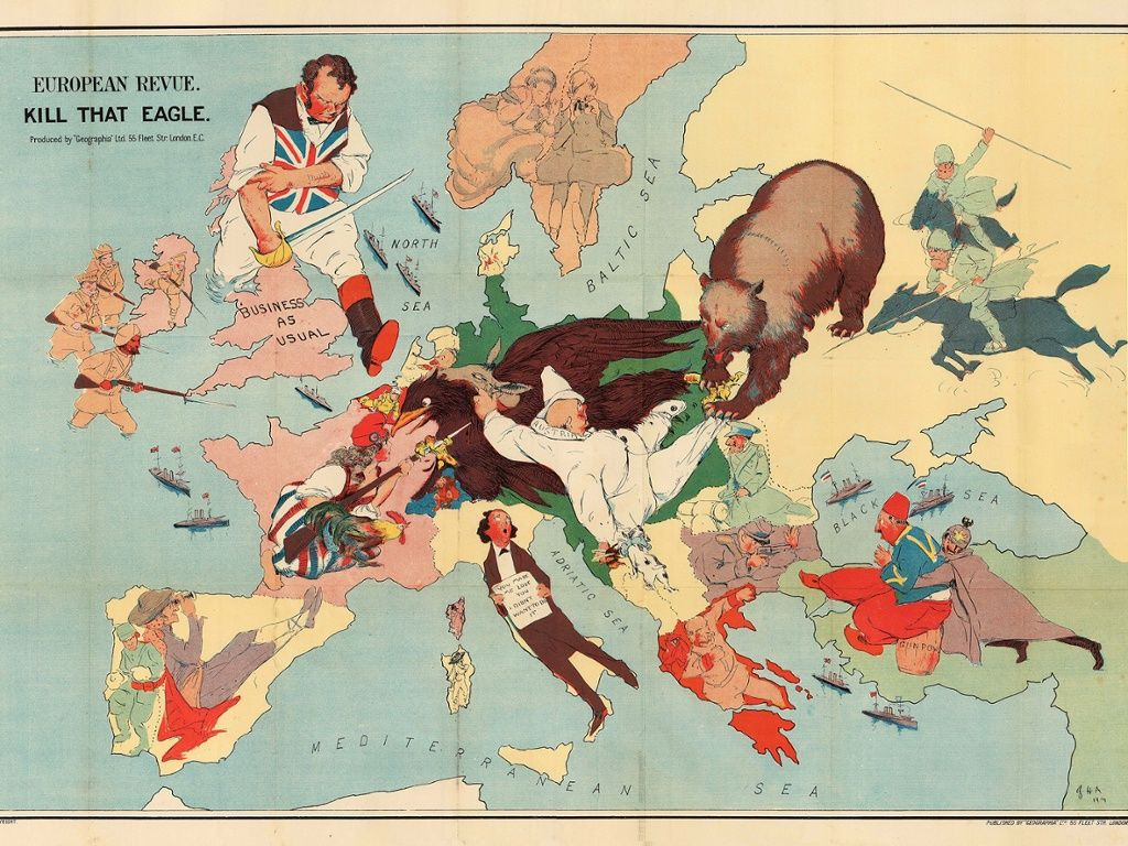 The octopuses of war ww1 propaganda maps in pictures austro a splendid map showing the confidence felt by many at the start of the great war gumiabroncs Gallery