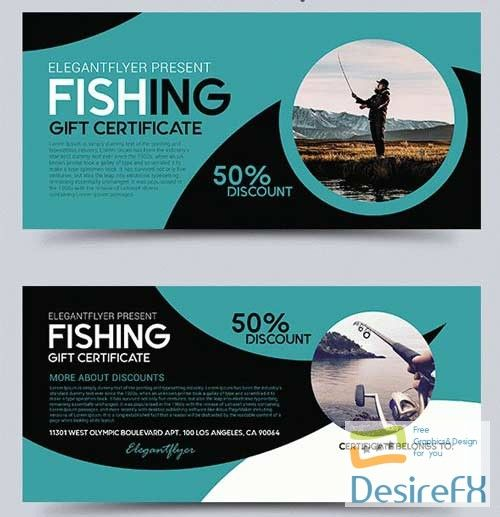 Fishing V1 2018 Gift Certificate Psd Template Graphicsdesign For