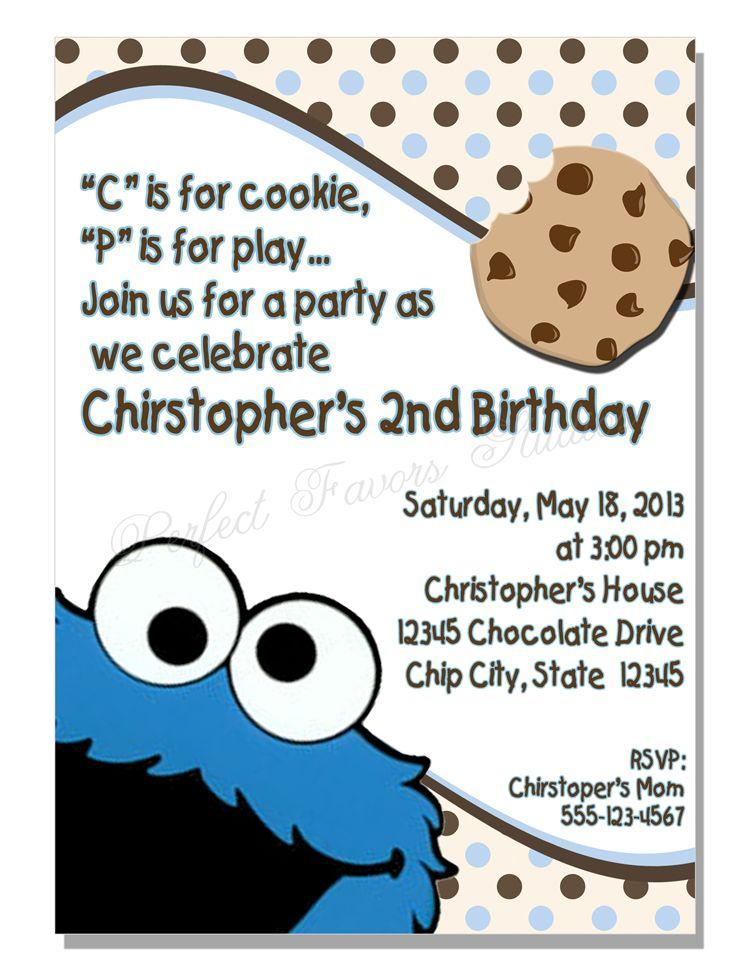 Cookie monster invitation children invitations pinterest cookie monster invitation filmwisefo