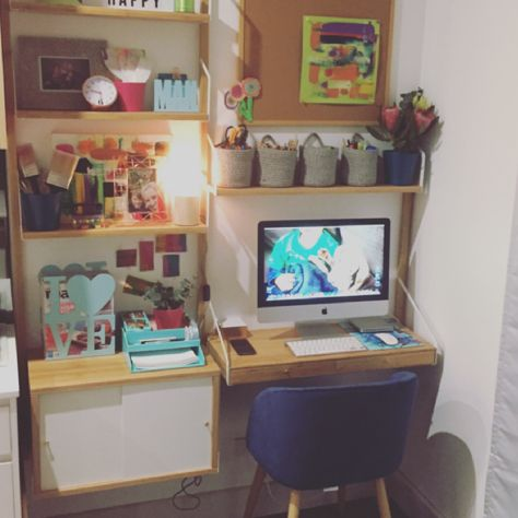 My study nook off the kitchen.. Ikea Svalnas series. Kmart chair and ...