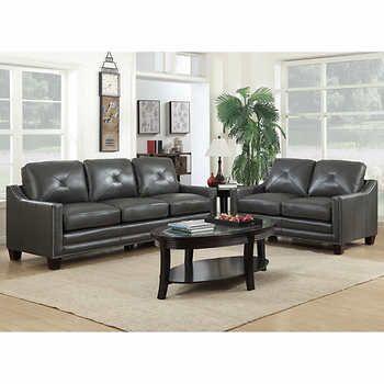 michelle sofa et causeuse en cuir fleur gris salon pinterest rh pinterest co uk Sofa and Loveseat Sets Grey Tufted Sofa