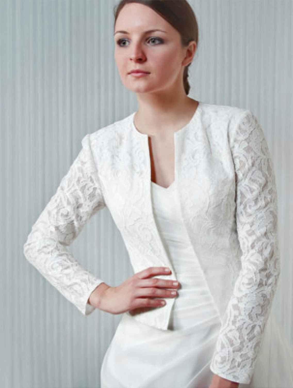 Brautblazer Jacke mit langen Ärmeln aus Spitze in ivory creme ...