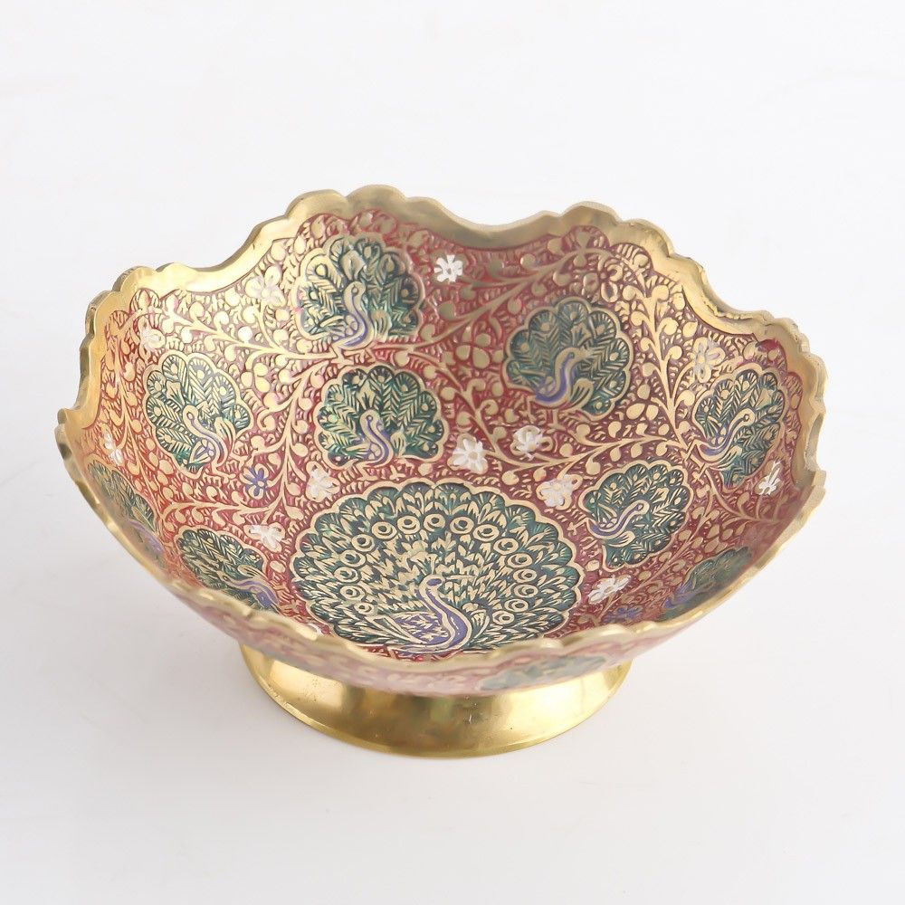 Kashmiri Red Inlaid Bronze Bowl Return Gift for Wedding