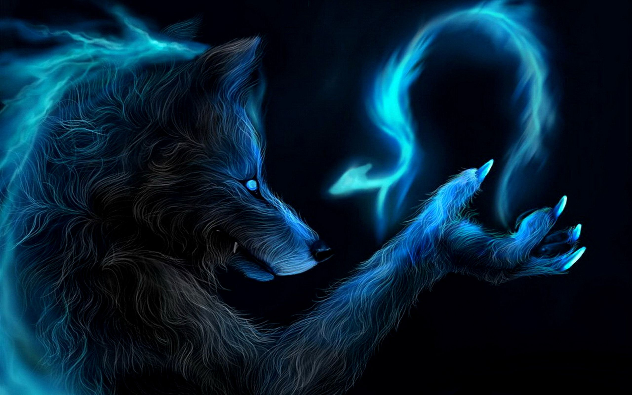 Blue Led Werewolf Wolf Background Magical Wolf Creature Picture