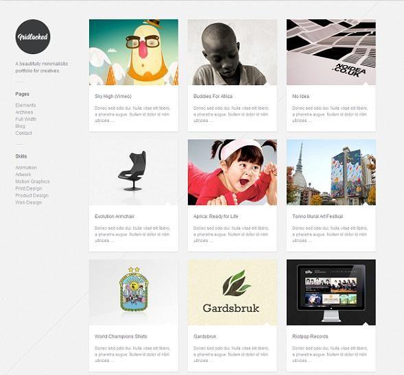 This masonry WordPress template boasts a filterable portfolio, light