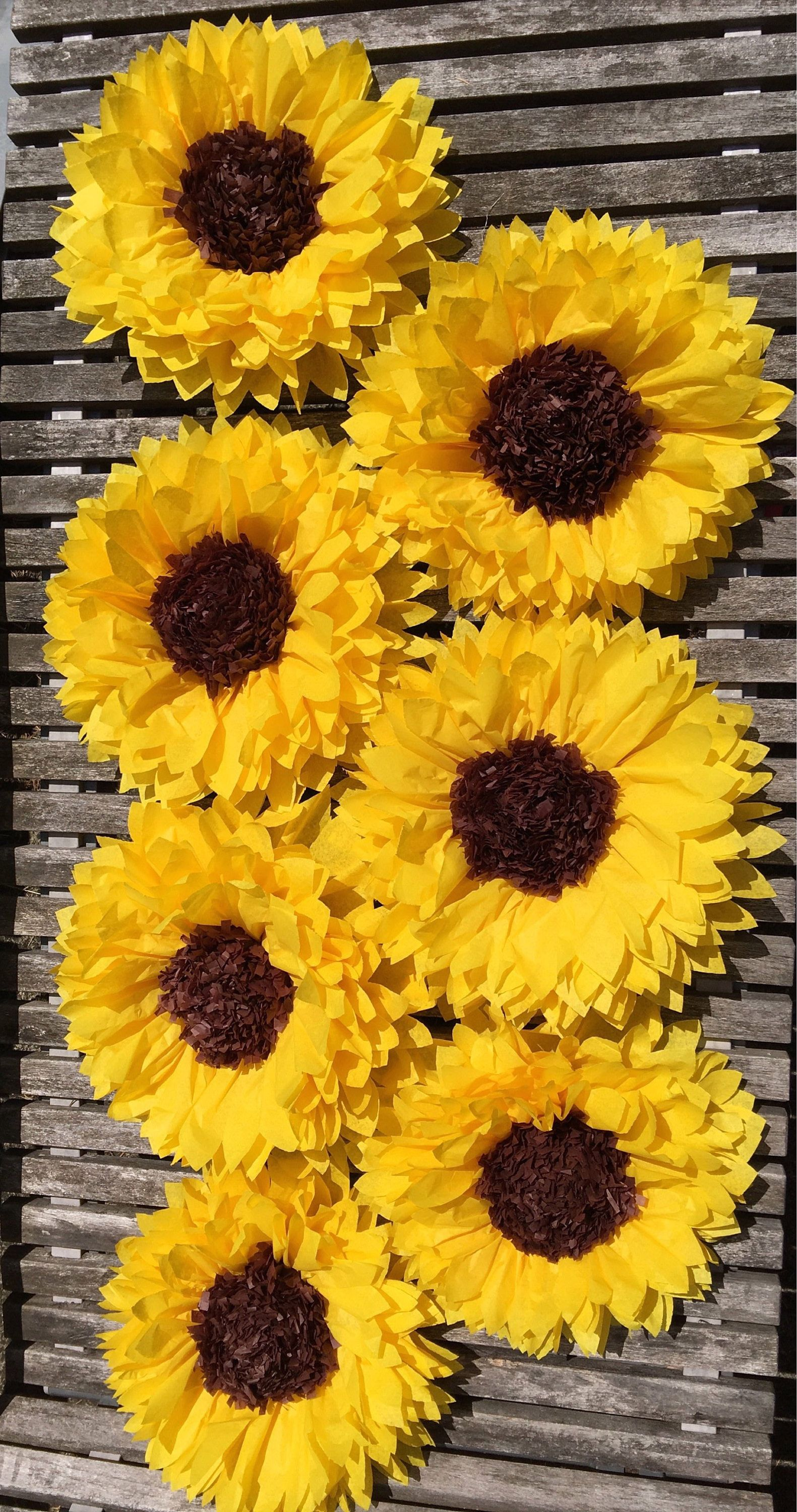 Large tissue paper sunflowers for rustic wedding decor