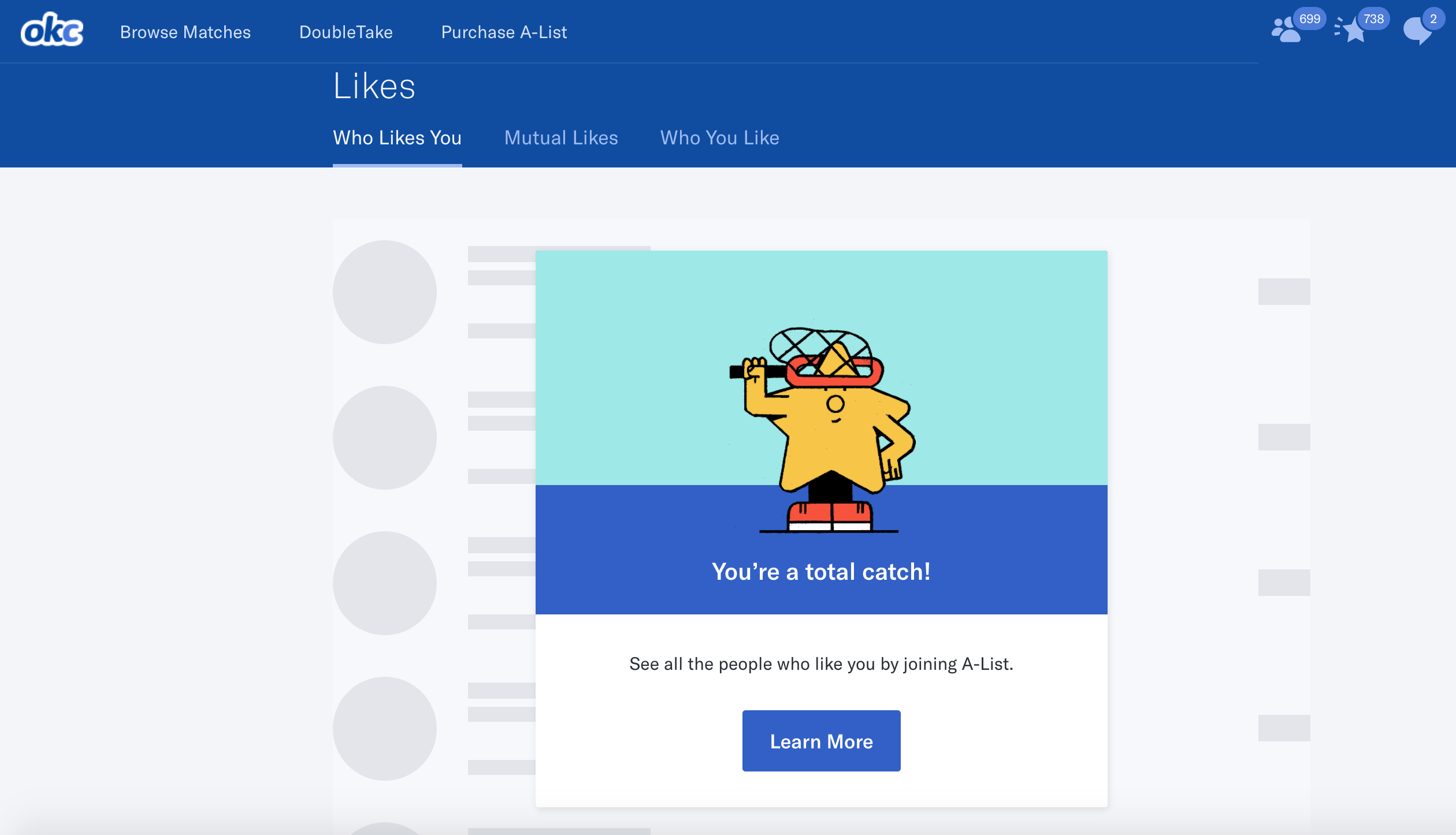 Gated Content Experience on OKCupid | Apps & UI | App, Pandora