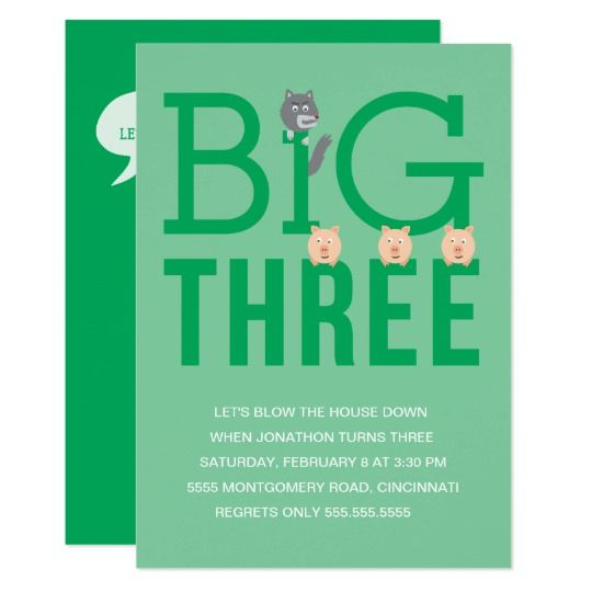 Three Little Pigs Third Birthday Invitation (With Images