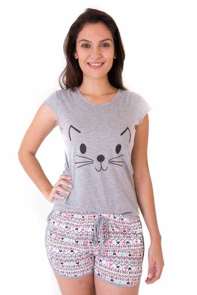 ef747f35e6bfa2 Pijama Feminino Adulto Curto com Shorts- Gato | Трикотаж | Pijama ...