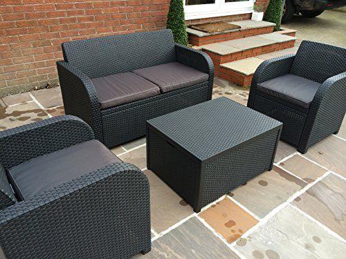 Keter Allibert Carolina Lounge Set In Anthracite Grey With Cushion