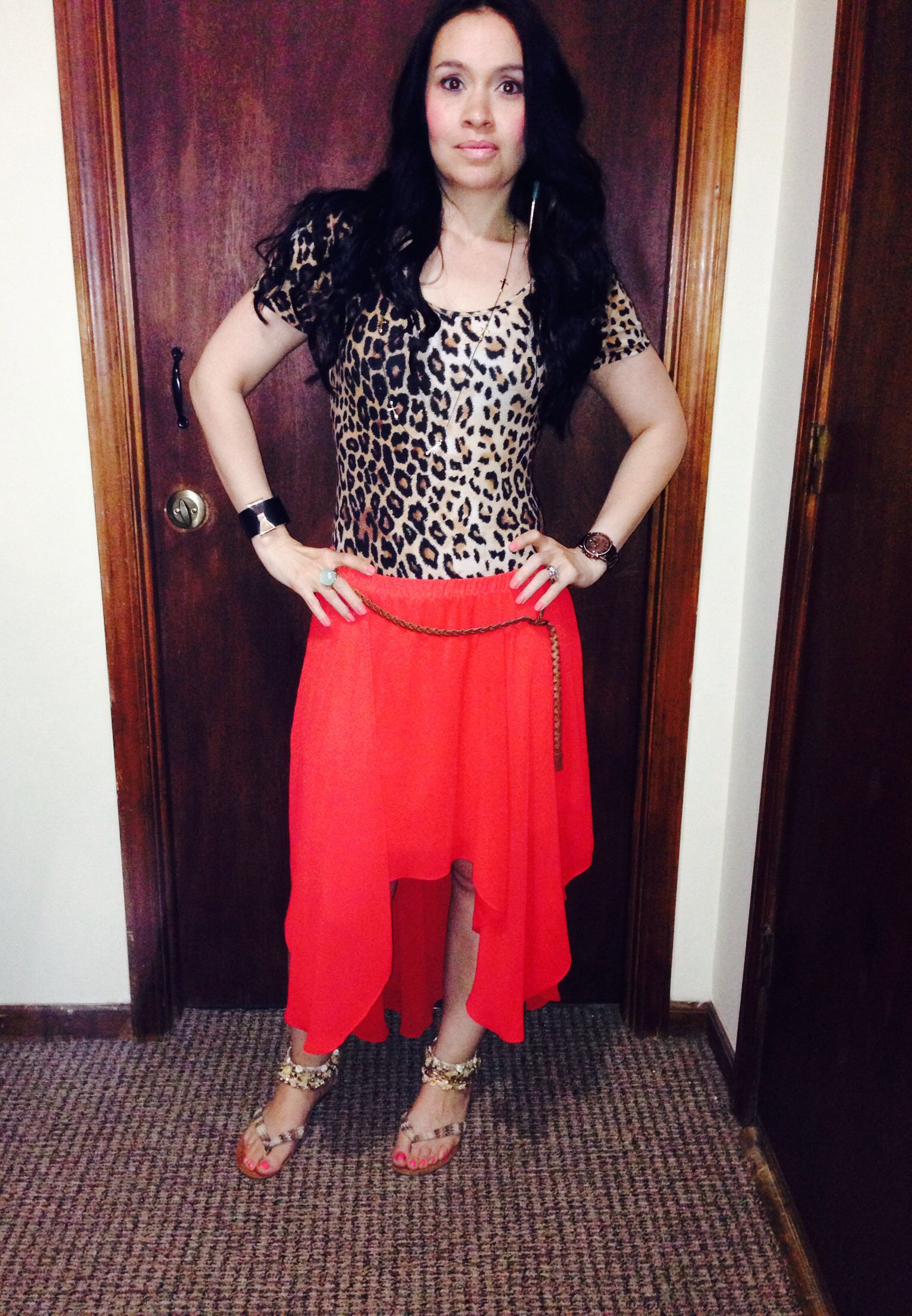 Perfect Spring Outfit... #casualdressy #cheetah #red #hi/lowskirt