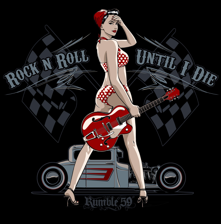 Rock'n'Roll Until I Die /// Das geht raus an alle Rockabilly-Rebellen: Wenn Rock'n'Roll durch Deine Adern fließt, ist das hier Dein Motiv! Hier gibt's das volle Programm: Eine verdammt heiße Rockabella, den tiefergelegten Hotrod und die obligatorische Gretsch-Gitarre. /// Design: Jan Meininghaus