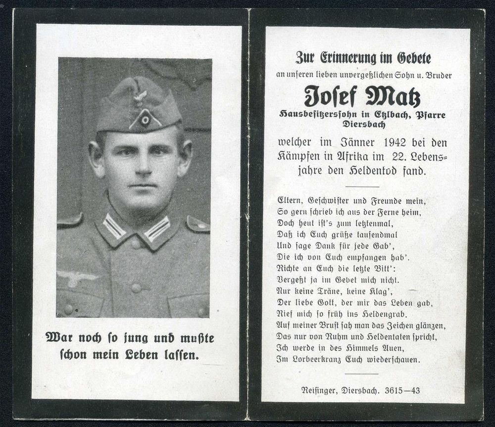 orig. WK2 STERBEBILD - DEATH CARD - DAK AFRIKA KORPS - TOBRUK Halfaya-Pass 1942