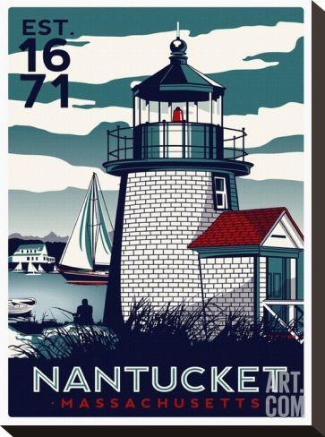 Nantucket Ii Stretched Canvas Print Matthew Schnepf Art Com Nantucket Massachusetts Travel Posters Nantucket