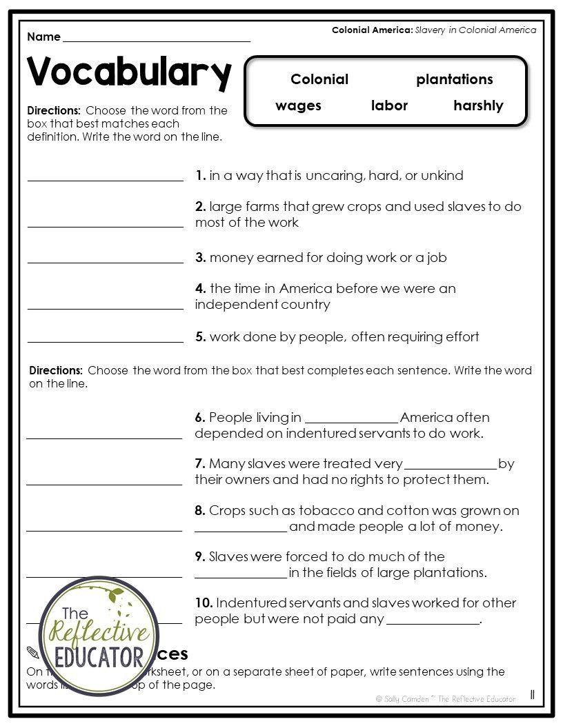 9th Grade Social Studies Worksheets Slavery In Colonial America Social St In 2020 Social Studies Worksheets Elementary Social Studies Lessons Social Studies Elementary