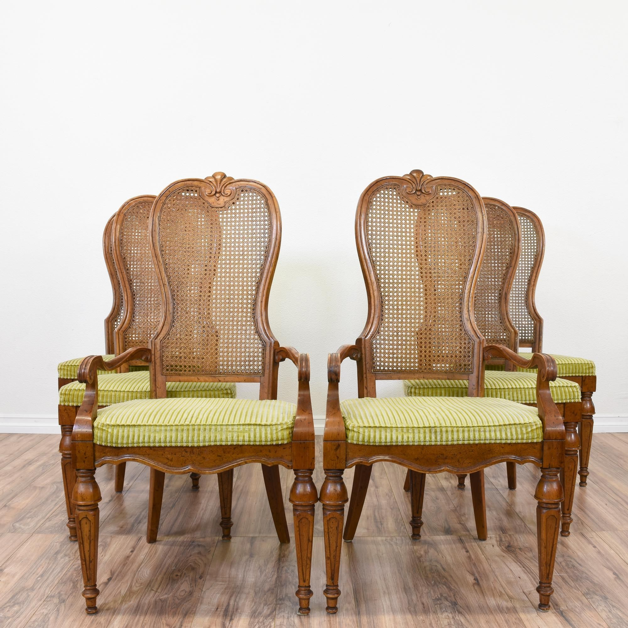 "This set of 6 ""Drexel Heritage"" dining chairs are featured in a"