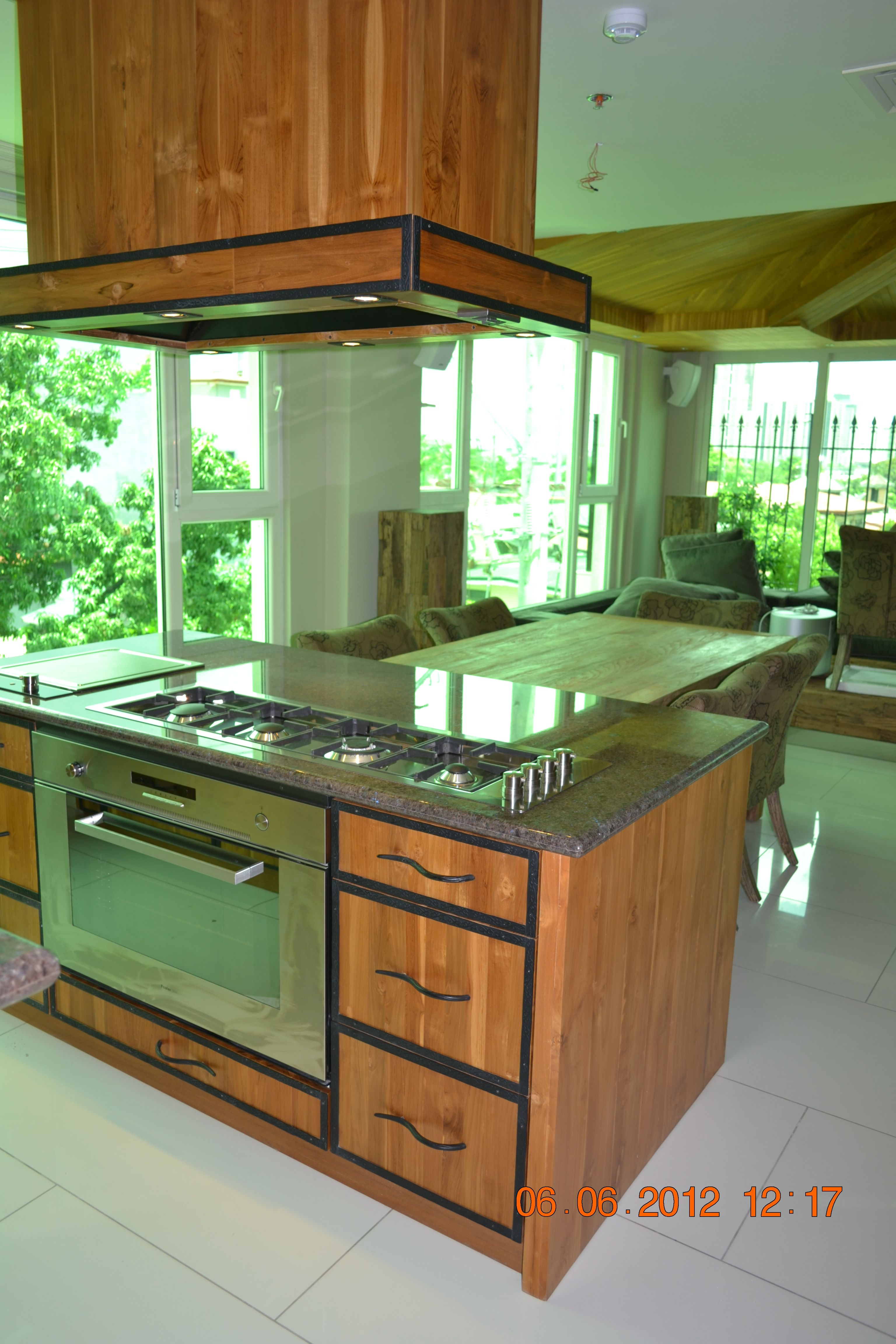 Island Kitchen Cabinets with Hood Built in oven and Hob Natural